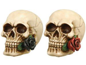 Dödskalle med ros