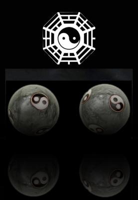 Kinesiska Hälsokulor - Grå Yin Yang - 40mm