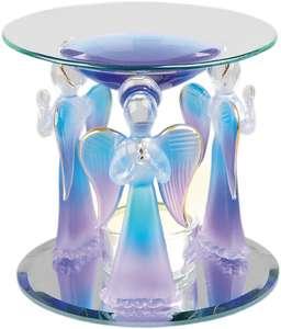 Aromalampa Änglar i ljusblått glas