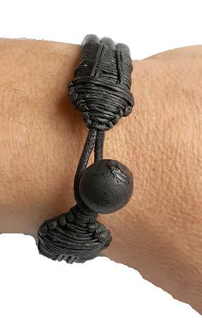 Läder Armband med Träpärla - Brun
