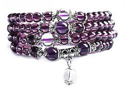 Mala Armband / Halsband  - Lila Glas