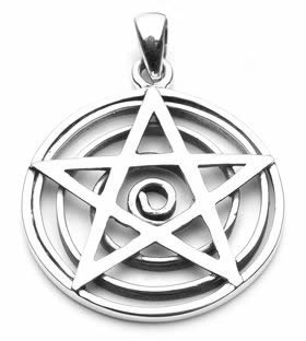 Pentacle Overlaying Sacred Spiral Pendant