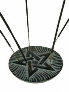 Rökelsehållare  - Svart soapstone - Pentagram