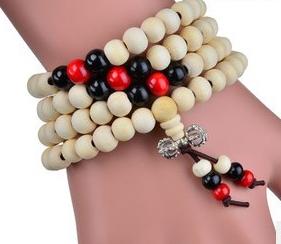 Mala Armband / Halsband  - Natutral Trä med Dorje