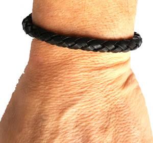 Vävd Läder Armband - Svart