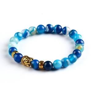 Buddha Armband - Blåband agat
