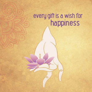 "Dubbla vykort - ""Every gift is a wish for happiness"""