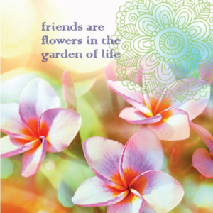 "Dubbla vykort - ""Friends are flowers.."""