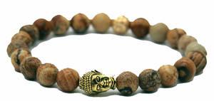 Buddha Armband - Landskaps Jaspis - Guld