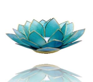 Lotuslyktan i snäckskal - Guldmetall  -Ljusblå- Chakra 5
