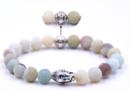 Buddha Armband - Frostat Kvarts- Guld Buddha