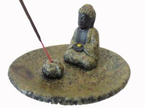 Rökelsehållare  Buddha i Sten/Ceramik