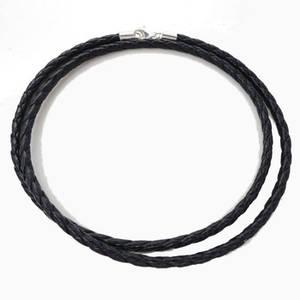 Vävd Svart Läder Halsband - 3mm