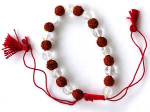 Rudraksha Mala Armband med Bergkristall