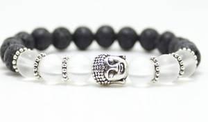 Buddha Armband - Frostat Kristall och Lavasten