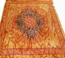 Keltiskt Batik Sängöverkast / Väggbonad - Ljusorang