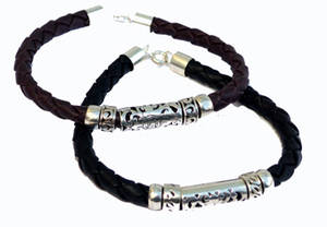 Balinese Läder/Silver Armband