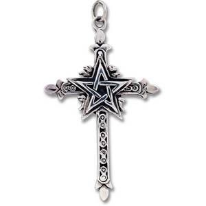 Kors med Pentagram i  Silver