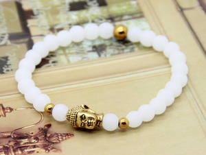 Buddha Armband - Vitkvart s/ Guld