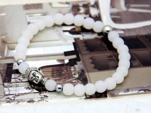 Buddha Armband - Vitkvart /Silver