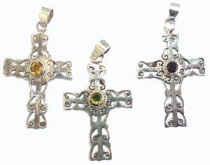 Renaisans Silver Kors med Sten