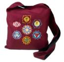 Axelväska - Rödbrun - med broderade Chakra symboler