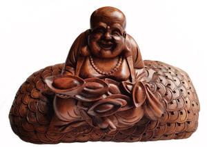 Glad  Buddha  Staty på Pengar - Symbol för Lycka och Framgång