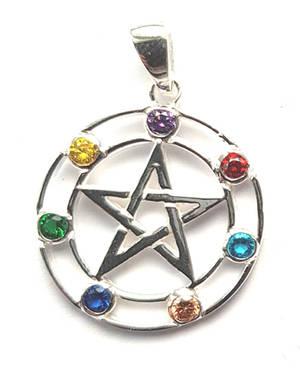 Pentagram Chakra Hänge  i Äkta Silver