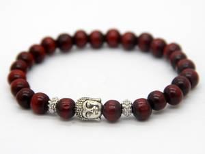 Buddha Armband - Röd Trä