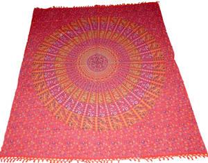 Röd Mandala sängöverkast