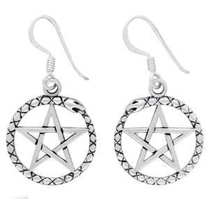 Silver Pentagram Örhängen med Oroboros Orm