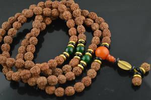 Rudraksha Frön Mala med Pärlor