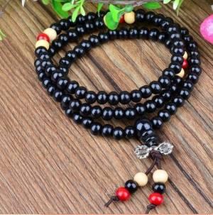 Mala Armband / Halsband  - Svart Träpärlor med Dorje