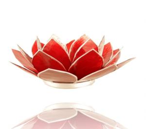 Lotuslyktan i snäckskal - Guldmetall - Röd -  Chakra 1