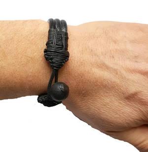 Läder Armband med Träpärla - Svart