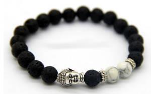 Buddha Armband - Howlit / Lava Sten