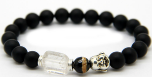 Happy Buddha Armband - Svart Agat / Kvart / Pärla