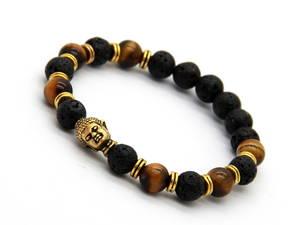 Buddha Armband - Lavasten/Tigerögat