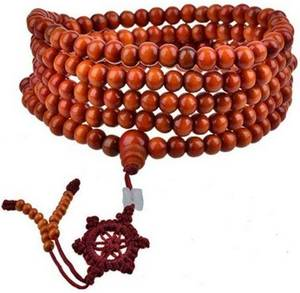 Mala Armband / Halsband  - OrangeTrä med Lycka Symbol /Jade