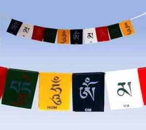 Fem tibetanska böneflaggor - Velours Tyg