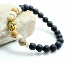 Buddha Armband - Svart Agat /Jaspis